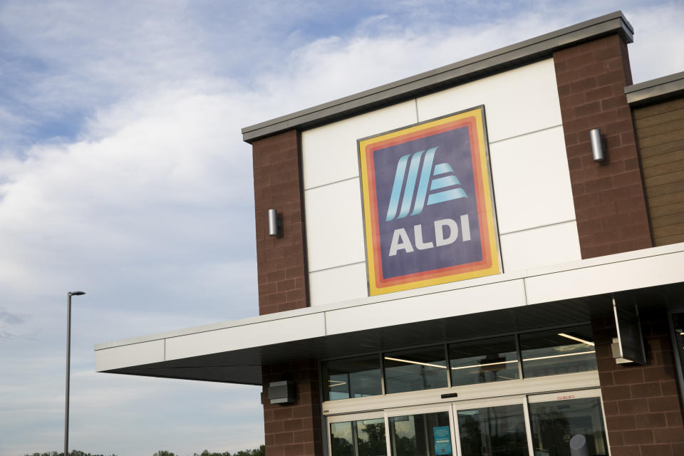 A logo sign outside of a Aldi retail grocery store location in Hagerstown, Maryland on May 29, 2020. (Photo by Kristoffer Tripplaar/Sipa USA)