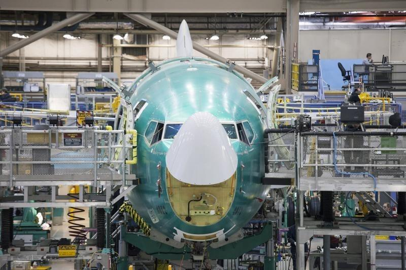 A Boeing 737 jetliner is pictured during a tour of the Boeing 737 assembly plant in Renton, Washington