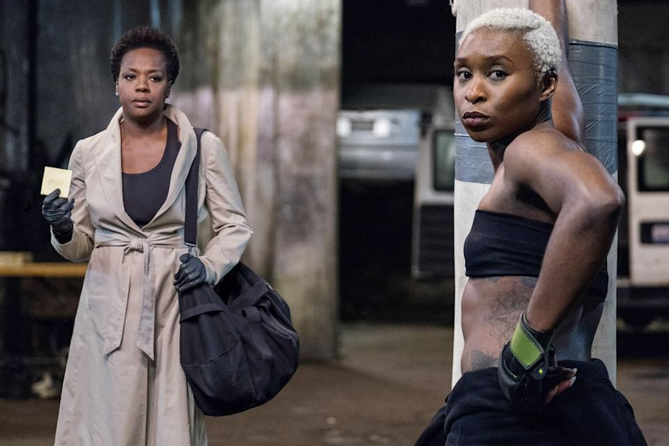 "<p>When a shoot-out with police leaves their husbands dead, a group of the titular widows band together to try to pay back the debt their spouses left behind by pulling off a serious heist. Viola Davis, Cynthia Erivo, Elizabeth Debicki, and Michelle Rodriguez are all phenomenal in this action-packed film.</p> <p><a href=""https://www.amazon.com/gp/video/detail/amzn1.dv.gti.66b38ce8-a378-1979-bf8d-7adb25c2b65c?autoplay=1"" rel=""nofollow noopener"" target=""_blank"" data-ylk=""slk:Available to buy on Amazon Prime"" class=""link rapid-noclick-resp""><em>Available to buy on Amazon Prime</em></a></p>"