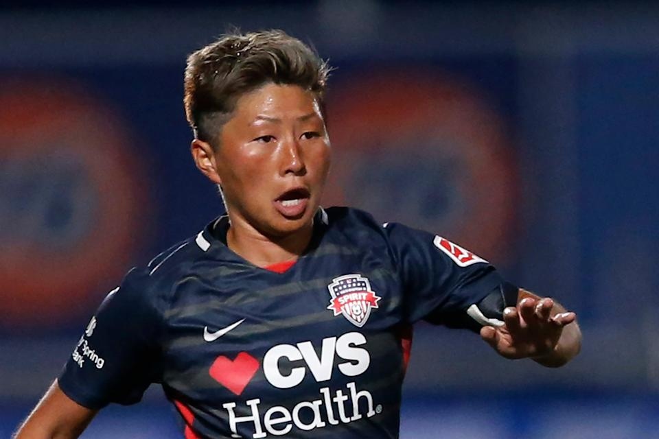 File image: In this 27 June, 2020, file photo, Washington Spirit forward Kumi Yokoyama dribbles the ball during the second half of an NWSL Challenge Cup soccer match against Chicago Red Stars at Zions Bank Stadium, in Herriman, Utah (AP)