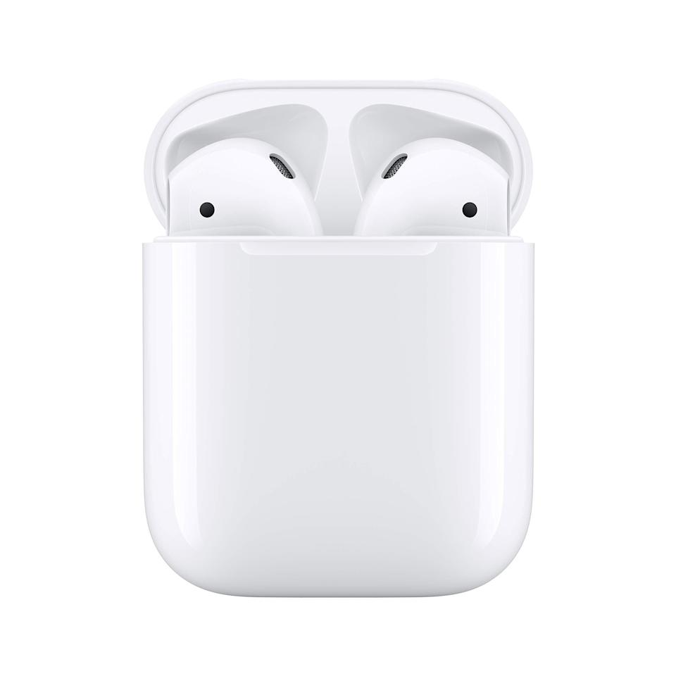 """<h2>Apple AirPods With Charging Case (Wired)</h2><br><br><strong>Apple</strong> AirPods with Charging Case (Wired), $, available at <a href=""""https://amzn.to/3jVs7yd"""" rel=""""nofollow noopener"""" target=""""_blank"""" data-ylk=""""slk:Amazon"""" class=""""link rapid-noclick-resp"""">Amazon</a>"""