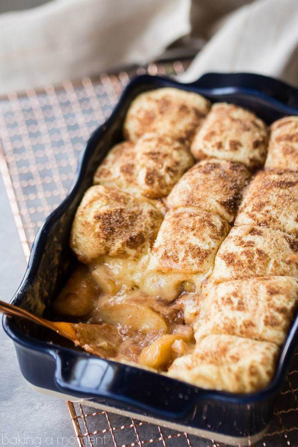 """<p>Never choose between cookies or cobbler again with this comforting dessert. Plus, a snickerdoodle cookie topping means you won't need to serve this dish á la mode.</p><p><strong>Get the recipe at <a rel=""""nofollow noopener"""" href=""""https://bakingamoment.com/snickerdoodle-apple-cobbler/"""" target=""""_blank"""" data-ylk=""""slk:Baking a Moment"""" class=""""link rapid-noclick-resp"""">Baking a Moment</a>.</strong><br></p><p><a rel=""""nofollow noopener"""" href=""""https://www.amazon.com/Starfrit-93013-Pro-Apple-Peeler-slicer/dp/B000X9EQ7Q"""" target=""""_blank"""" data-ylk=""""slk:SHOP APPLE PEELERS"""" class=""""link rapid-noclick-resp"""">SHOP APPLE PEELERS</a></p>"""