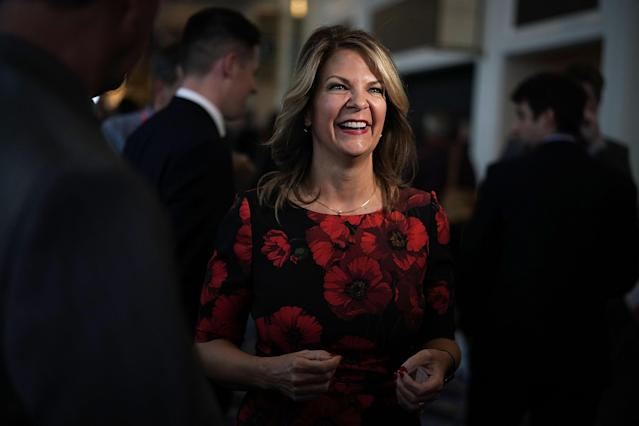 <p>Republican Senate candidate for Arizona Kelli Ward attends CPAC 2018, Feb. 22, 2018 in National Harbor, Md. (Photo: Alex Wong/Getty Images) </p>