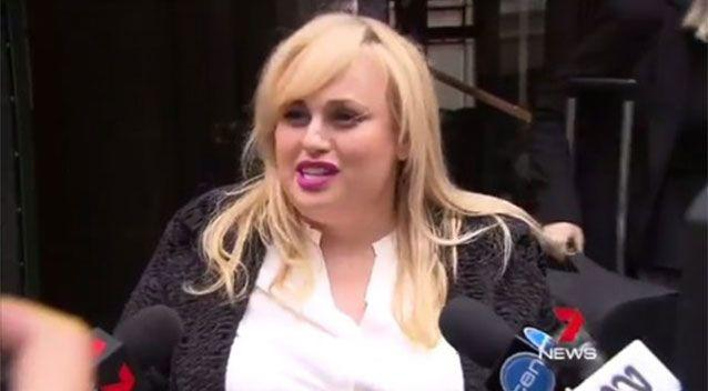 Rebel Wilson outside Melbourne court today. Picture: 7 News