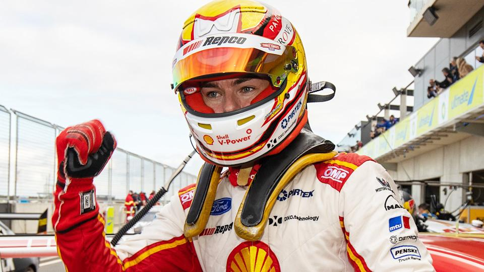 Scott McLaughlin is pictured after winning at Tailem Bend during the 2020 Supercars season.