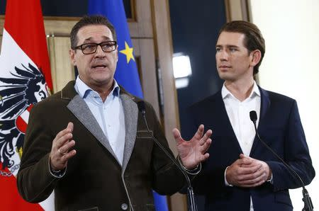 Head of the Freedom Party (FPOe) Heinz-Christian Strache (L) and head of the People's Party (OeVP) Sebastian Kurz address a news conference in Vienna, Austria, December 15, 2017. REUTERS/Leonhard Foeger