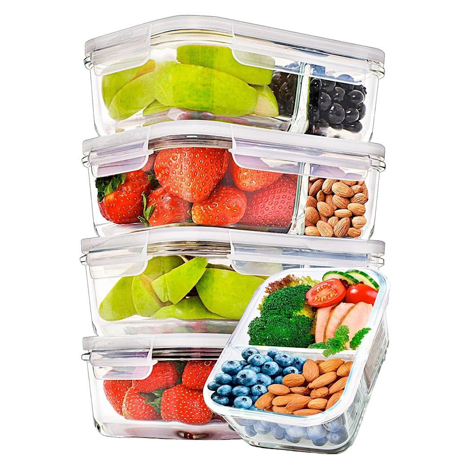 Prep Naturals 2-Compartment Glass Meal Prep Containers