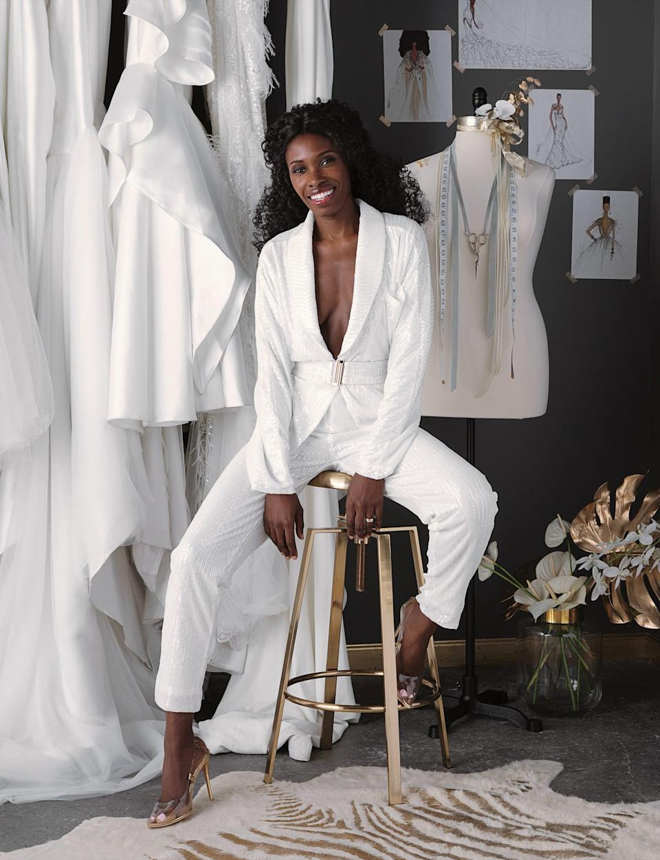 """<ul> <li><strong>On designing dresses <em>and</em> opening a bridal salon:</strong> """"I knew that in order to sell <a class=""""link rapid-noclick-resp"""" href=""""https://www.popsugar.com/Wedding"""" rel=""""nofollow noopener"""" target=""""_blank"""" data-ylk=""""slk:wedding"""">wedding</a> dresses, I had to be my own seller. So I opened the store in 2013. And we continued to go to New York bridal market and attempt to pick up retailers, but it wasn't that easy. A lot of retailers were playing the comparison game like, 'Oh, you're the Black Vera Wang.' And I was like, 'I'm just Andrea. We don't have to turn me into someone else so it's more palatable for you.'""""</li> <li><strong>On her journey to success: </strong>""""So it started off as a 400-square-foot boutique and we opened up an extension store across the street, because it was the closest thing that had more space. Then we realized that it was not ideal for us to be bouncing back and forth from one space to the next. Then our first retailer picked us up, and we realized we were expanding fairly fast. So about three years ago, we moved to Nostrand Avenue, which is about a 3,000-square-foot space. Our team has tripled in size, and we're now sold at four retailers and were recently picked up by Kleinfeld. I'm really excited about that. They're pros and have been really, really supportive.""""</li> </ul>"""