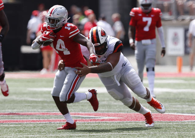 Ohio State paid Oregon State a lot of money to play in Week 1. (AP Photo/Jay LaPrete)
