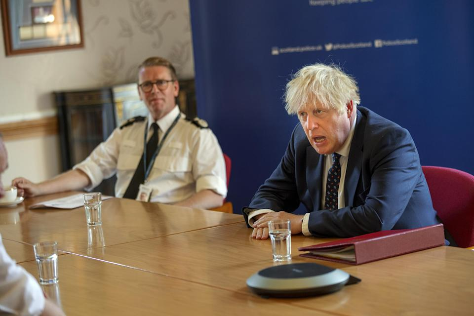 Prime Minister Boris Johnson met senior officers at the Scottish Police College (James Glossop/The Times/PA)