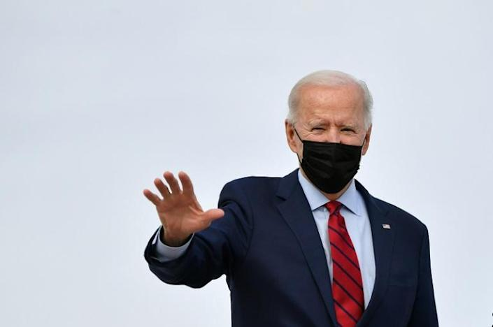 """US President Joe Biden, seen boarding Air Force One on February 27, 2021, has insisted that Iran cannot act with """"impunity"""""""