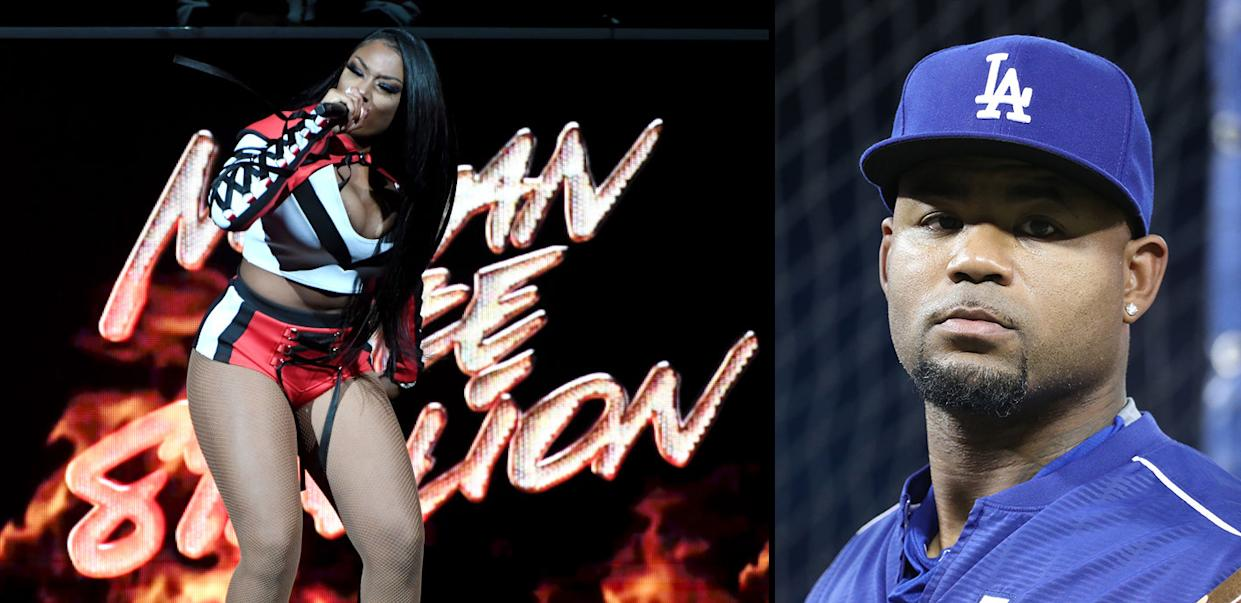 Megan Thee Stallion is suing ex-Dodgers star Carl Crawford, who owns her original record label. (Getty Images)