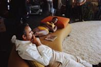<p>Sean Connery and Trina Parks relax between takes on the set of 'Diamonds Are Forever', 1971. They are filming on location at the Elrod House in Palm Springs, California. </p>