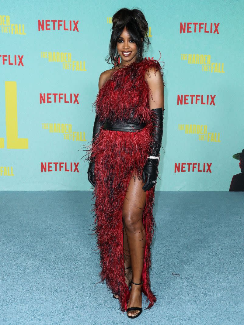 Kelly Rowland at the Los Angeles premiere of Netflix's 'The Harder They Fall' held at the Shrine Auditorium and Expo Hall on Oct. 13. - Credit: MEGA