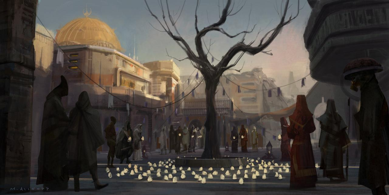 """<p>Kushins: """"There's such a remarkable attention to detail — not just visual detail, but visual detail as pertained specifically to the narrative of each individual piece — and every corner of Jedha implied a universe alive well beyond the framing of this one <i>Star Wars</i> story."""" </p>"""