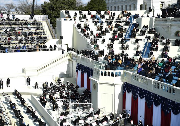 US President Joe Biden delivers his inauguration speech on January 20, 2021, at the US Capitol in Washington, DC. - Biden was sworn in as the 46th president of the US. (Photo by Brendan Smialowski / AFP) (Photo by BRENDAN SMIALOWSKI/AFP via Getty Images)