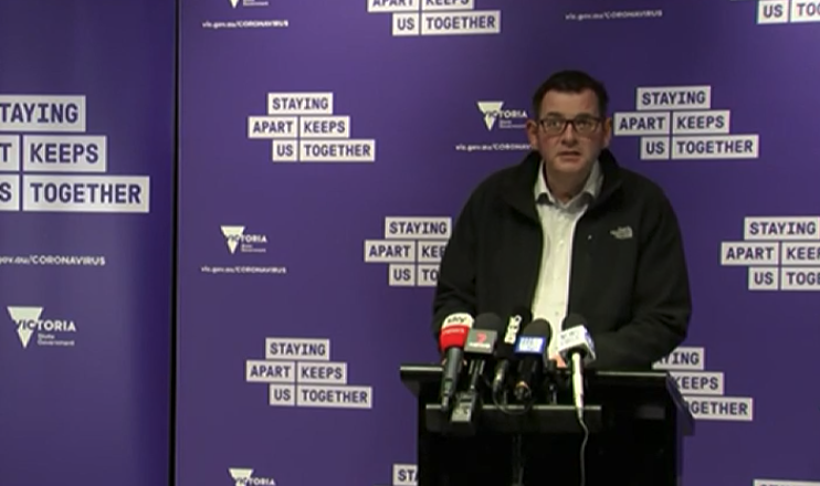 Daniel Andrews addresses the media on Monday. Source: ABC