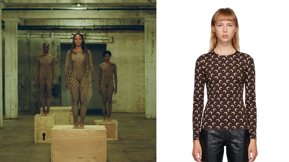 Beyonce in Black is King, Marine Serre Brown & Beige Moon Allover Long Sleeve T-Shirt. Photo via Disney Plus, SSENSE.