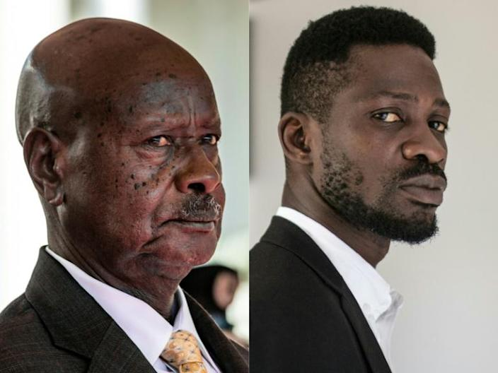 Frontrunners: President Yoweri Museveni, left, and musician-turned-politician Robert Kyagulanyi, also known as Bobi Wine
