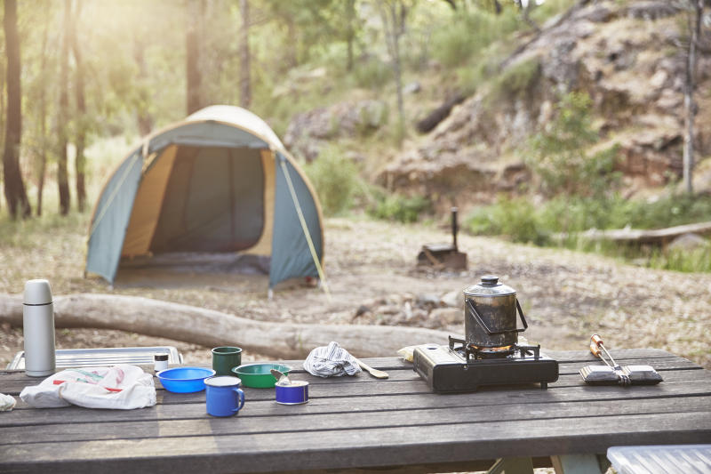 Cooking and camping in Australian bush