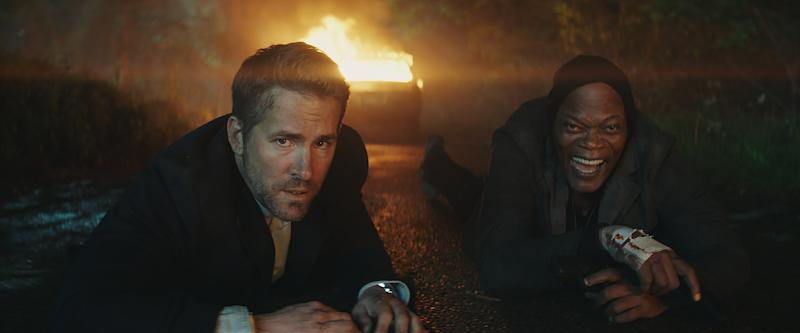 "Ryan Reynolds and Samuel L. Jackson star in ""The Hitman's Bodyguard."""