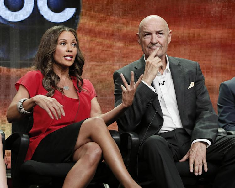 """FILE - This July 27, 2012 file photo shows Vanessa Williams, left, and Terry O' Quinn attending the """"666 Park Avenue"""" panel at the Disney ABC TCA at the Beverly Hilton Hotel in Beverly Hills, Calif. The Television Critics Association brought casts and executives before the nation's TV reporters to get them stoked about the new fall series. They had to be excited that soon their show would reach the public and, just maybe, catch fire and run seven or eight seasons, then forever in syndicated reruns _ a show that might win them new or boosted fame and untold wealth, even a place in the annals of great TV. (Photo by Todd Williamson/Invision/AP, file)"""