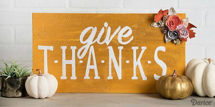 """<p>Display this sweet sign all month as a reminder that your gratitude should be ongoing, and not just a day on your calendar.<strong><br></strong></p><p><strong>Get the tutorial at <a href=""""http://blog.darice.com/holiday/fall/thanksgiving/diy-thanksgiving-decoration-sign/"""" rel=""""nofollow noopener"""" target=""""_blank"""" data-ylk=""""slk:Live Craft Love"""" class=""""link rapid-noclick-resp"""">Live Craft Love</a>.</strong></p><p><a class=""""link rapid-noclick-resp"""" href=""""https://www.amazon.com/DecoArt-Americana-Multi-Surface-Metallic-2-Ounce/dp/B00JAAEDKE/?tag=syn-yahoo-20&ascsubtag=%5Bartid%7C10050.g.1371%5Bsrc%7Cyahoo-us"""" rel=""""nofollow noopener"""" target=""""_blank"""" data-ylk=""""slk:SHOP GOLD PAINT"""">SHOP GOLD PAINT</a></p>"""
