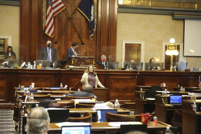 Rep. Melissa Lackey Oremus, R-Aiken, speaks in favor of an abortion bill as it is debated on Wednesday, Feb. 17, 2021 in Columbia, S.C. Democrats walked out, leaving members to speak to many empty seats. (AP Photo/Jeffrey Collins)