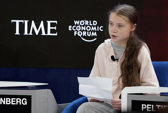 Swedish climate change activist Greta Thunberg attends a session at the 50th World Economic Forum (WEF) annual meeting in Davos, Switzerland, January 21, 2020. REUTERS/Denis Balibouse