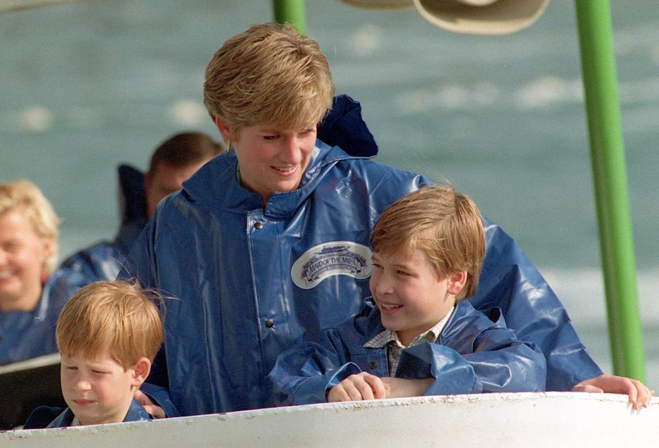 Library filer ref 251018-21, dated 26.10.91, of Diana, Princess of Wales, with her sons, Princes Harry (left) and William, aboard the Maid of the Mist cruiser near to Niagara Falls. The princess was today (Sunday) killed in a car crash in Paris. Photo by Martin Keene/PA.   (Photo by Martin Keene - PA Images/PA Images via Getty Images)