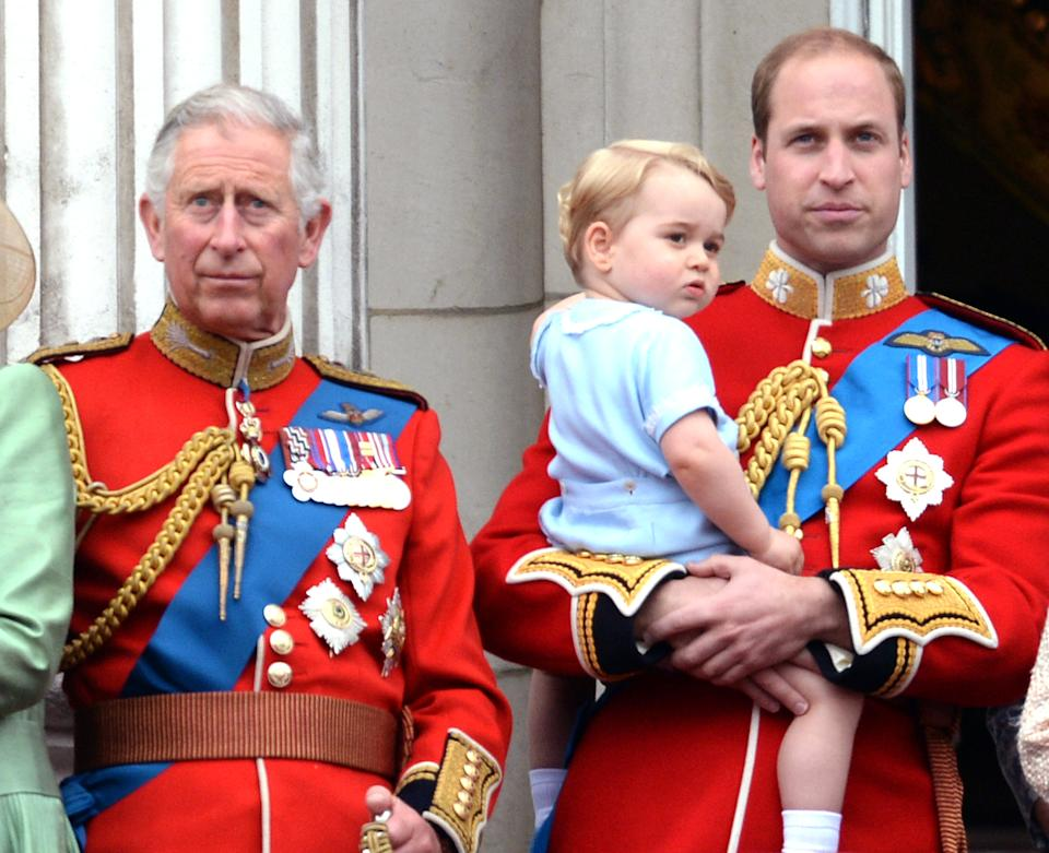 Prince Charles, Prince of Wales, Prince George and Prince William, Duke of Cambridge during the Trooping of the Colour Ceremony in London. (Photo by Zak Hussein/Corbis via Getty Images)