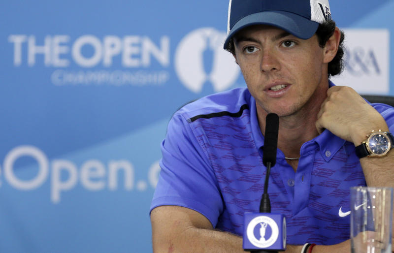 Rory McIlroy of Northern Ireland speaks during a press conference ahead of the British Open Golf Championship at Muirfield, Scotland, Wednesday July 17, 2013. (AP Photo/Alastair Grant)