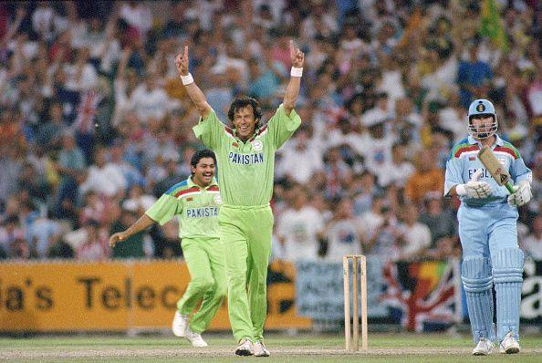 Pakistan captain Imran Khan celebrates 1992 Cricket World Cup Final Win