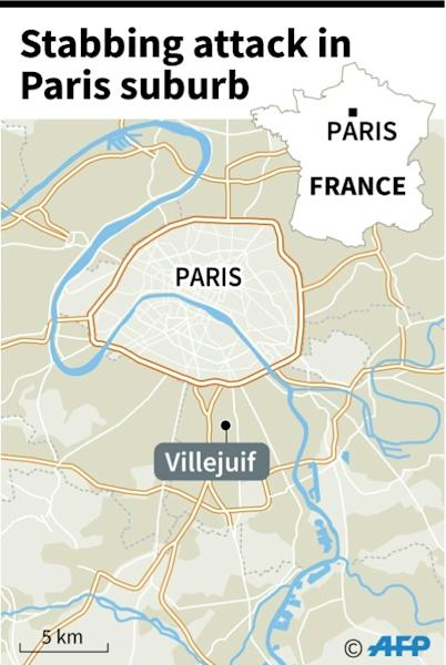 Map locating Villejuif near Paris where a man stabbed passers-by Friday