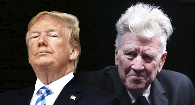 President Trump and David Lynch. (Photo illustration: Yahoo News; photos: Evan Vucci/AP, Franco Origlia/Getty Images)