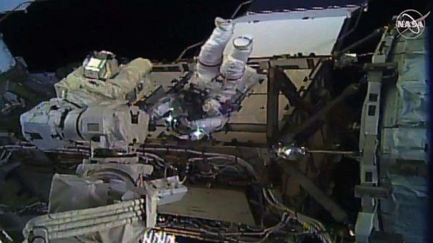 PHOTO: Astronaut Christina Koch during her spacewalk outside the International Space Station on Oct. 18, 2019. (NASA TV/AFP via Getty Images)