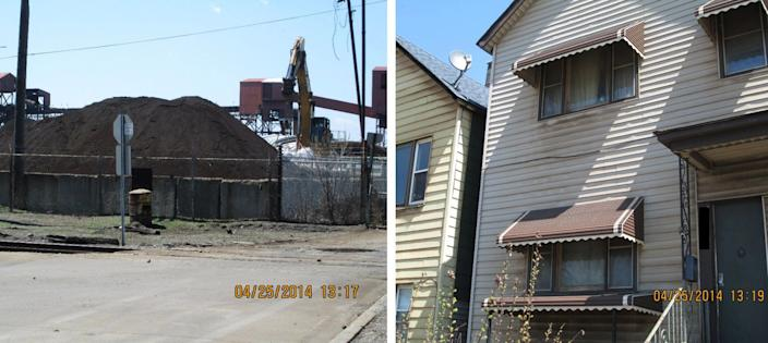 Photos from an EPA study showing the S.H. Bell Company and manganese dust buildup on neighboring homes in the Southeast side of Chicago. (Photos: EPA)