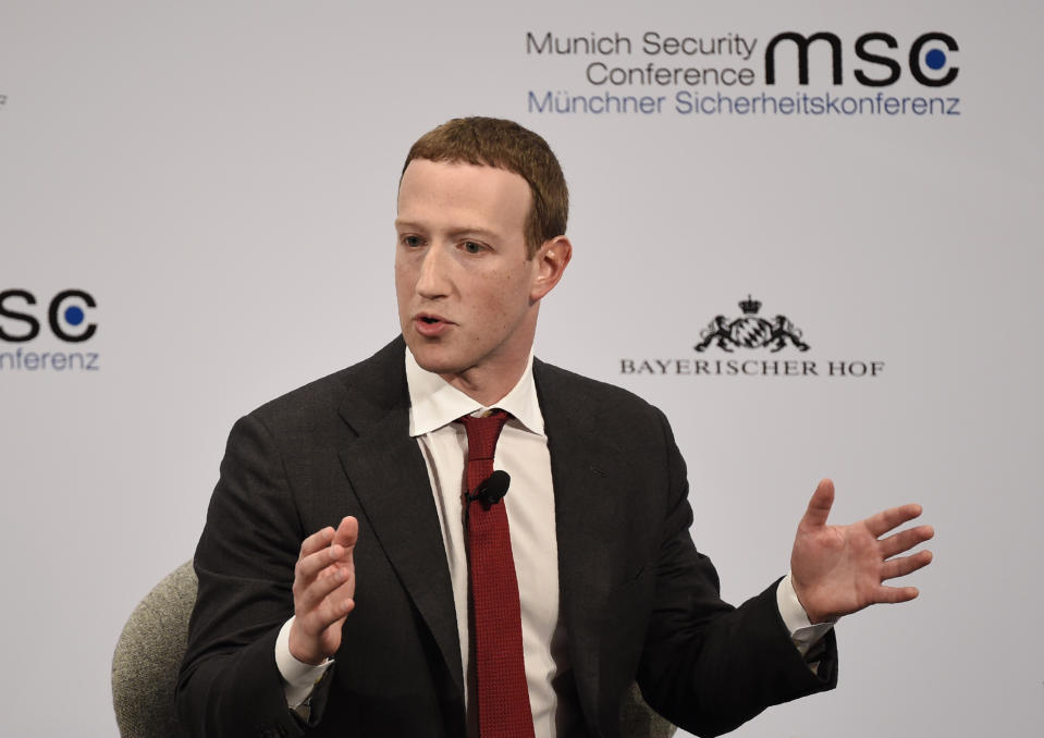 Facebook CEO Mark Zuckerberg speaks on the second day of the Munich Security Conference in Munich, Germany, Saturday, Feb. 15, 2020. (AP Photo/Jens Meyer)