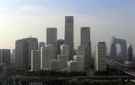 Buildings are seen in Beijing's central business district