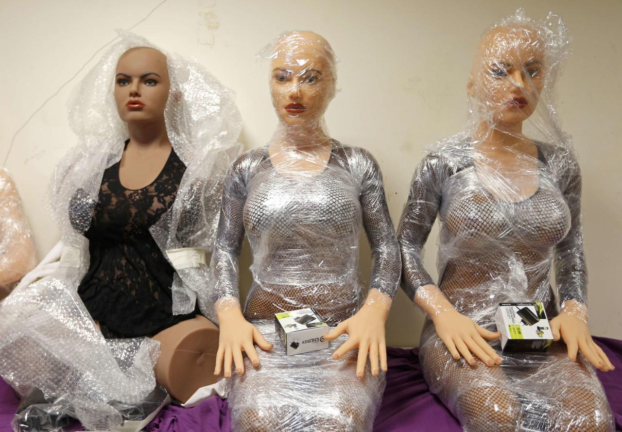 Silicone dream dolls are seen at the workshop of the Dreamdoll company in Duppigheim near Strasbourg, December 2, 2014. The realistic silicone sex dolls can be ordered from a catalogue based on four hair and eye color models for a base price of 5,500 euros ($6,150). The dolls weigh around 40 kilos due to a lightweight aluminum structure and take a week to construct. The company of three employees produces some one hundred custom-made silicone sex dolls a year, mainly for European customers. Picture taken December 2, 2014.          REUTERS/Vincent Kessler (FRANCE  - Tags: SOCIETY BUSINESS TPX IMAGES OF THE DAY)