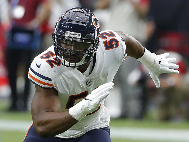FILE - In this Sept. 23, 2018, file photo, Chicago Bears linebacker Khalil Mack (52) is shown in action in the first half during an NFL football game against the Arizona Cardinals, in Glendale, Ariz. Last week the Miami Dolphins tried assigning eight players to help with pass protection, and even that didnt prevent Ryan Tannehill from getting hit. And now the Dolphins have to block Khalil Mack. (AP Photo/Rick Scuteri, File)