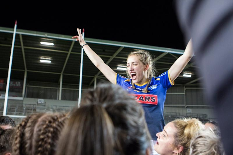 Caitlin Beevers celebrates her 18th birthday as Leeds Rhino win the Super League and Challenge Cup double at St Helens