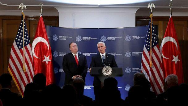 PHOTO: Vice President Mike Pence speaks during a news conference, as Secretary of State Mike Pompeo looks on, at the U.S. Embassy in Ankara, Turkey, Oct. 17, 2019. (Huseyin Aldemir/Reuters)
