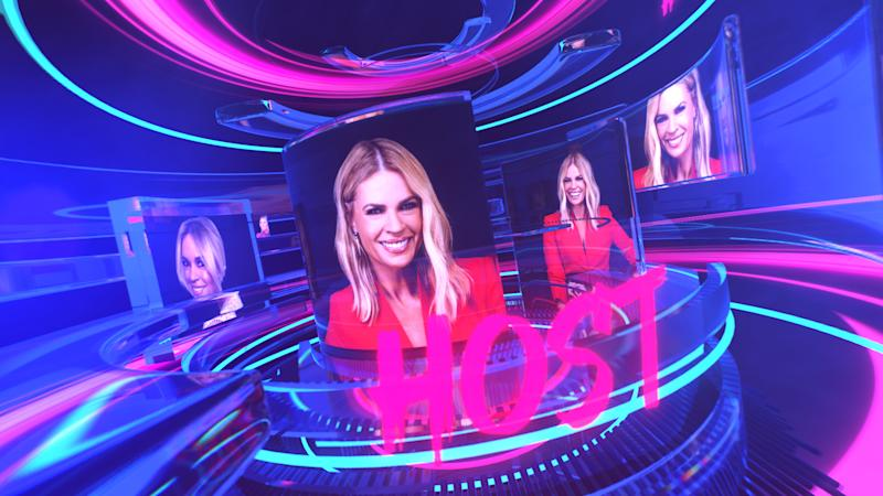 Sonia Kruger in a red jacket as the host of Big Brother