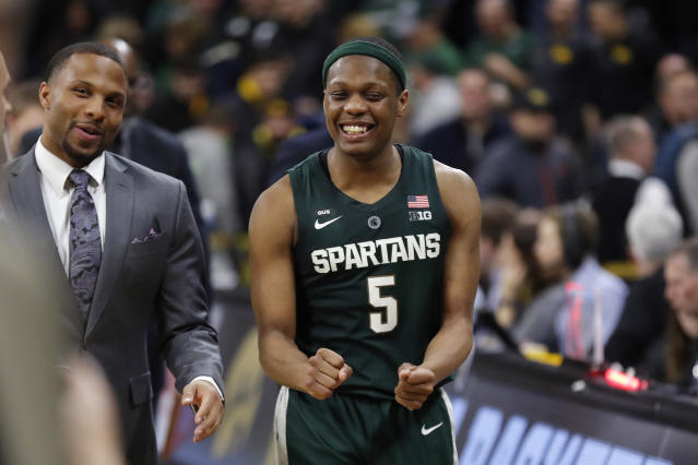 Michigan State guard Cassius Winston reacts as he walks off the court after the team's NCAA college basketball game against Iowa, Thursday, Jan. 24, 2019, in Iowa City, Iowa. Michigan State won 82-67. (AP Photo/Charlie Neibergall)