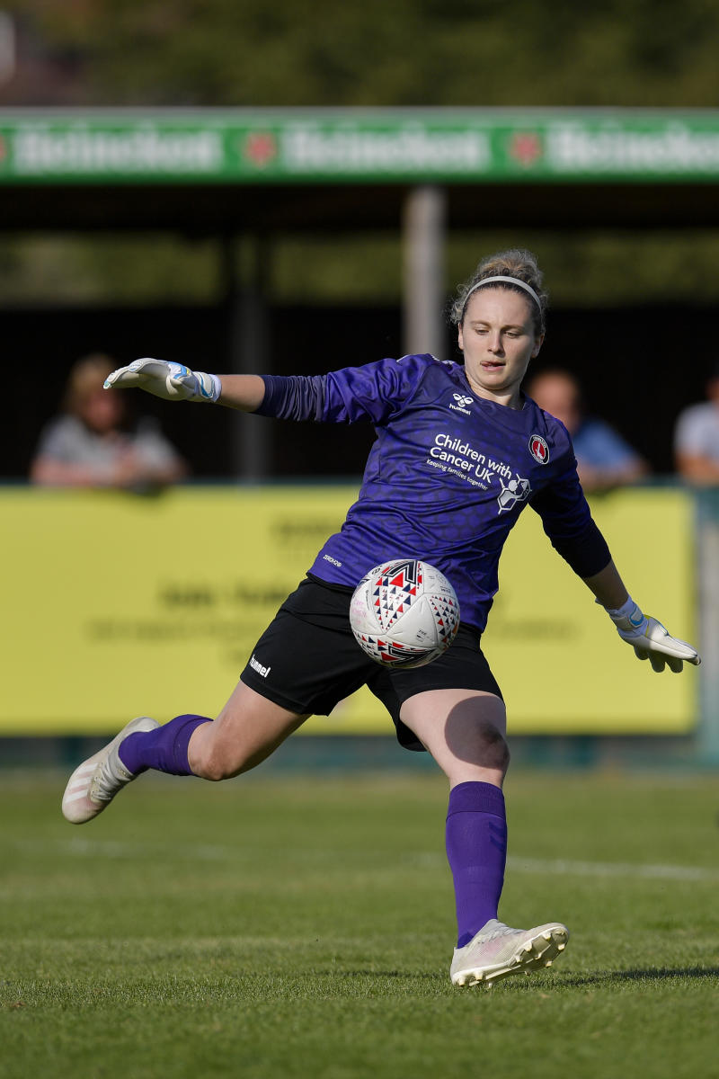Katie Startup in action during the FA Women's Championship match between Charlton Athletic and London City Lionesses at Oakwood on September 15, 2019 in London, England.