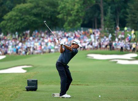 Aug 12, 2017; Charlotte, NC, USA; Kevin Kisner tees off on the 14th hole during the third round of the 2017 PGA Championship at Quail Hollow Club. Mandatory Credit: Kyle Terada-USA TODAY Sports