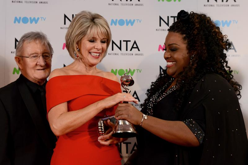 LONDON, ENGLAND - JANUARY 23: (L-R) Chris Steele, Ruth Langsford and Alison Hammond attend the National Television Awards 2018 at The O2 Arena on January 23, 2018 in London, England. (Photo by Dave J Hogan/Dave J Hogan/Getty Images)