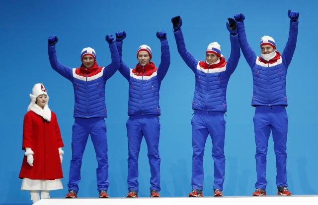 Medals Ceremony - Nordic Combined Events - Pyeongchang 2018 Winter Olympics - Men's Team 4 x 5 km - Medals Plaza - Pyeongchang, South Korea - February 23, 2018 - Silver medalists Jan Schmid, Espen Andersen, Jarl Magnus Riiber and Joergen Graabak of Norway on the podium. REUTERS/Kim Hong-Ji