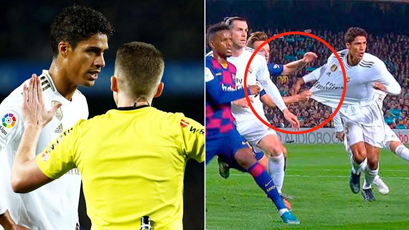 Real Madrid thought they should have had a penalty when Ivan Rakitic tugged Rafael Varane's shirt.